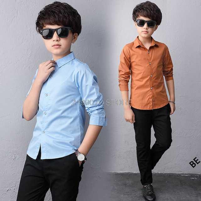 Nastoletnie chłopcy koszule szkoła formalna koszula dla  ELHw1