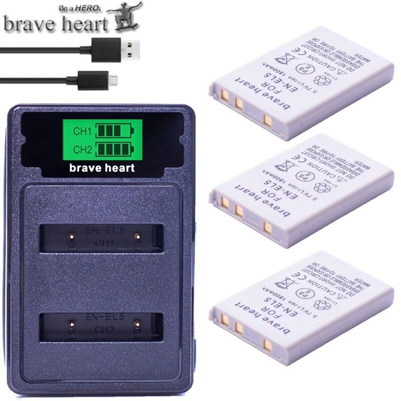 Bateria EN-EL5 ENEL5 En El5 Battery Pack + Dual Charger For Nikon Camera Coolpix P80 P90 P100 P500 P510 P520 Camera Accessories