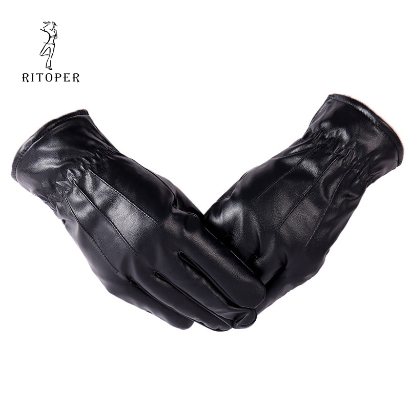 RITOPER Winter Leather Gloves Men's Velvet Touch Screen Waterproof Windproof Gloves Keep Warm Outdoor Driving Thicken Gloves
