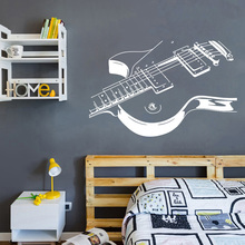 Beauty Music Wall Sticker Teen Active Lovely Musical instrument Bedroom Decor Guitar Home Decals Poster W688