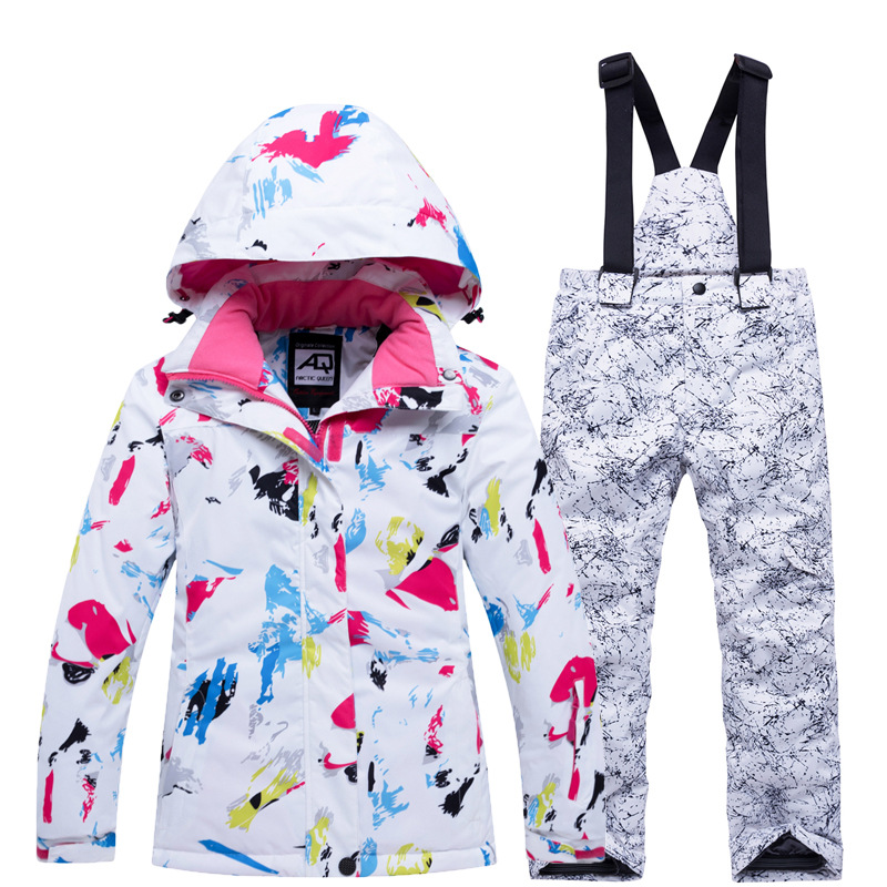 Winter Kids Ski Suit Sport Set For Children Thicken Windproof Hooded Child Down Suit Snowboard Jackets+Pants Two Piece Clothes