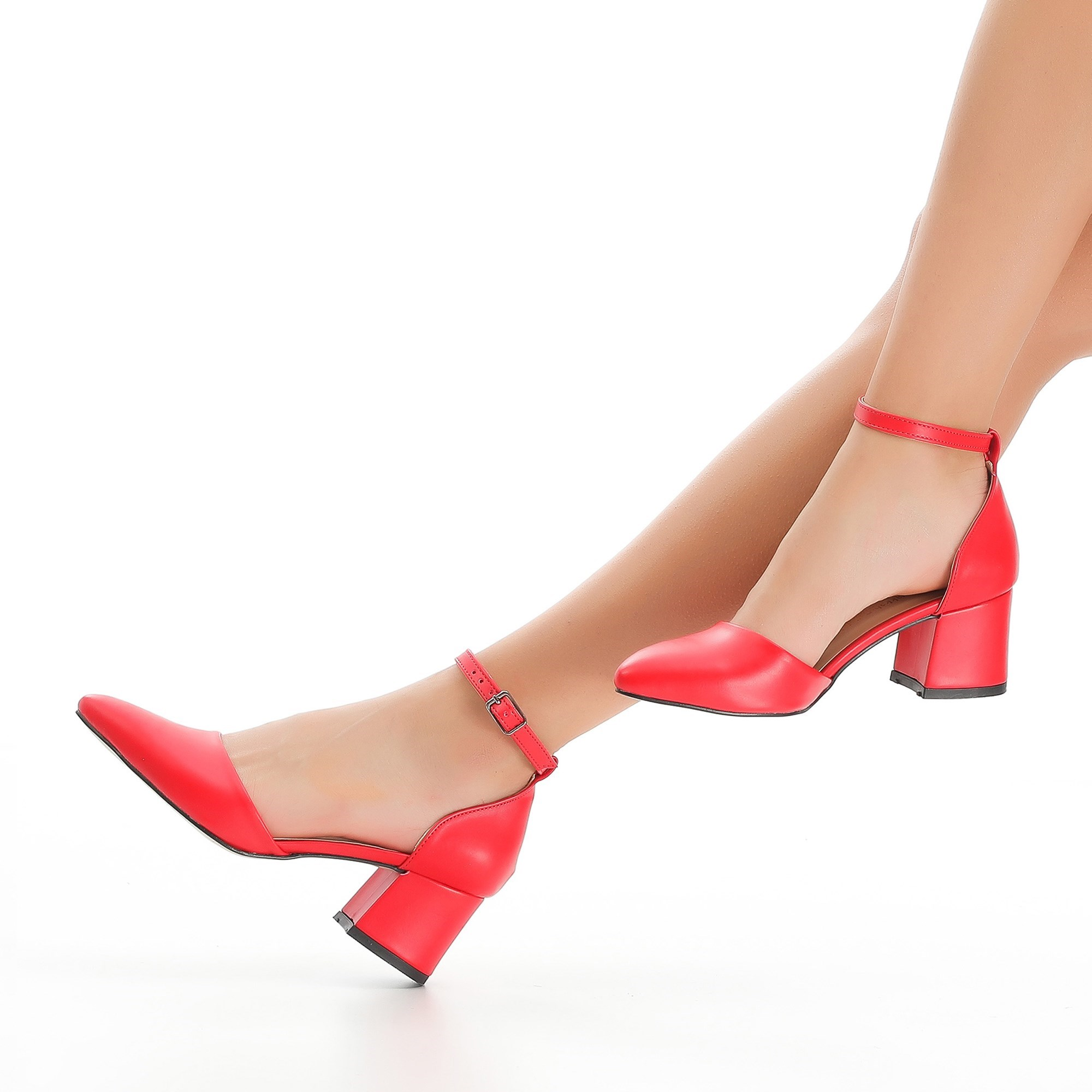 Mst-033 Red Leather Women's Elegant Pointed Toe High Heels Wedding Shoes Crystal Clear Heels Slingback 35-40