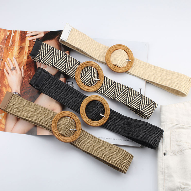 Vintage Boho Braided Waist Belt Summer Solid Female Belt Round Wooden Smooth Buckle Fake Straw Wide Belts For Women Hot Sale