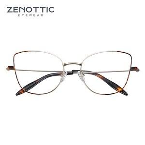 Image 2 - Zenottic cat eye óculos frame para mulher simples prescrição de metal armação de resina clara lente miopia óptica eyewear 2020