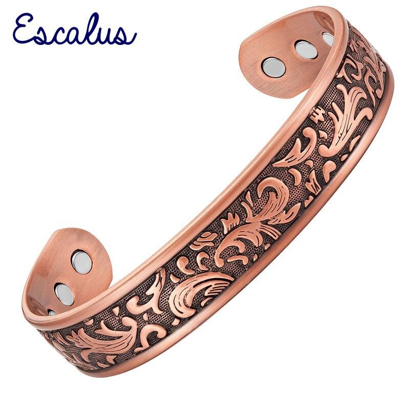 Escalus Magnetic Vintage Pure Copper Fashion Jewelry Bangle For Women Energy Bio Bracelet for Men Charm Bracelets Wristband