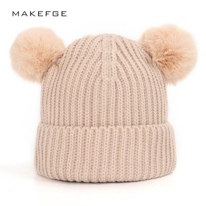 2019 Pompon Children's Hat Warm Solid Color Boy Girl Winter Hat Ski Beanie Mask Cute Baby Soft Hat Knit Cap Fashion Headwear
