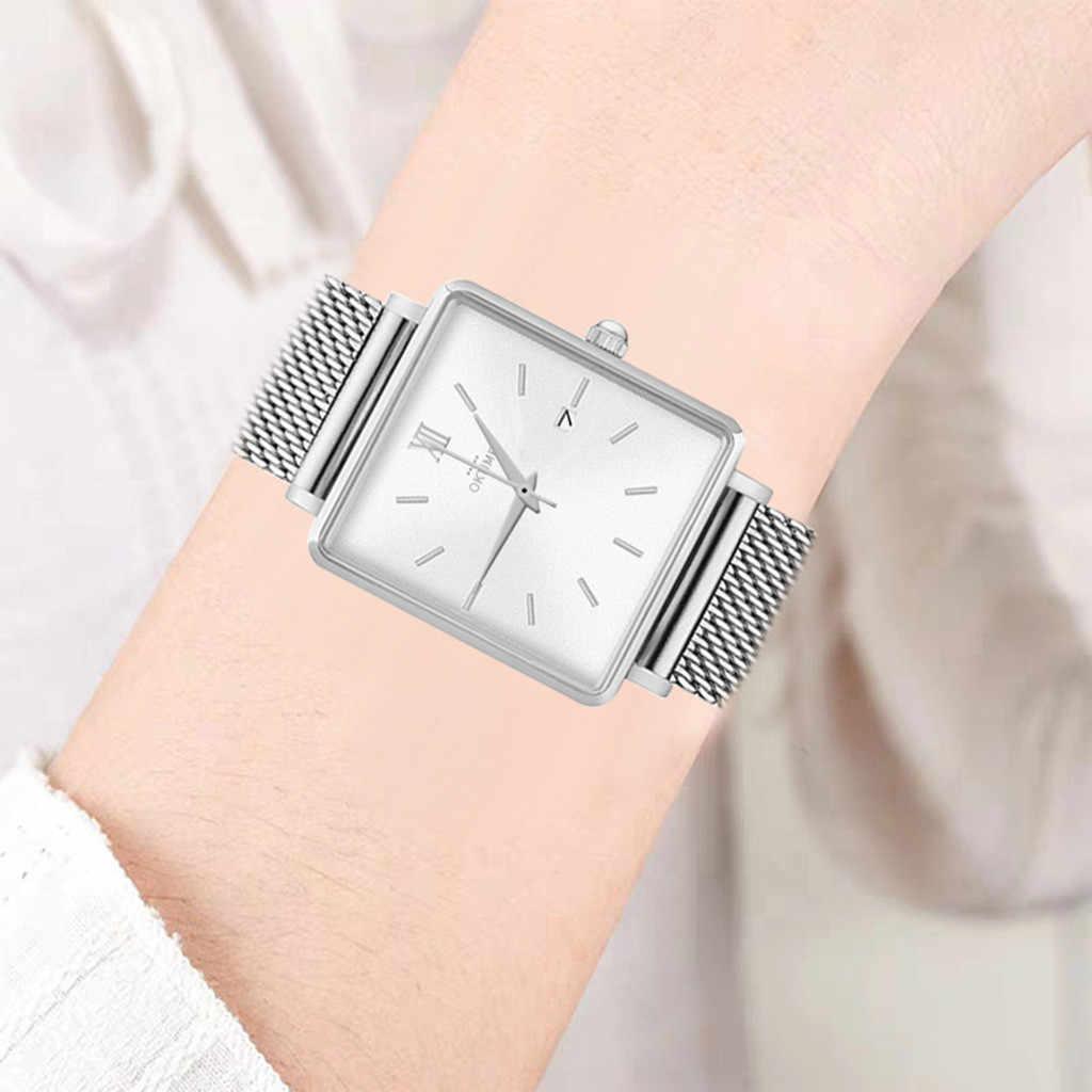 หรูหราสุภาพสตรีนาฬิกา Rose Gold Silver ตาข่ายสแตนเลสผู้หญิงนาฬิกาควอตซ์แบบสบายๆนาฬิกา часы женские reloj mujer/ D