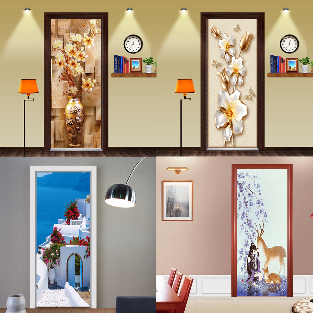 Vintage Carved Jade Pattern Door Mural Simulated Landscape Wall Decal Self Adhesive Vinyl Removable Door Wall Sticker Home Decor