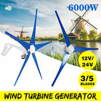 6000W 3/5 Blades Horizontal Wind Generator 12V/24V Wind Turbines Generator With Controller Windmill Energy Turbines Charge