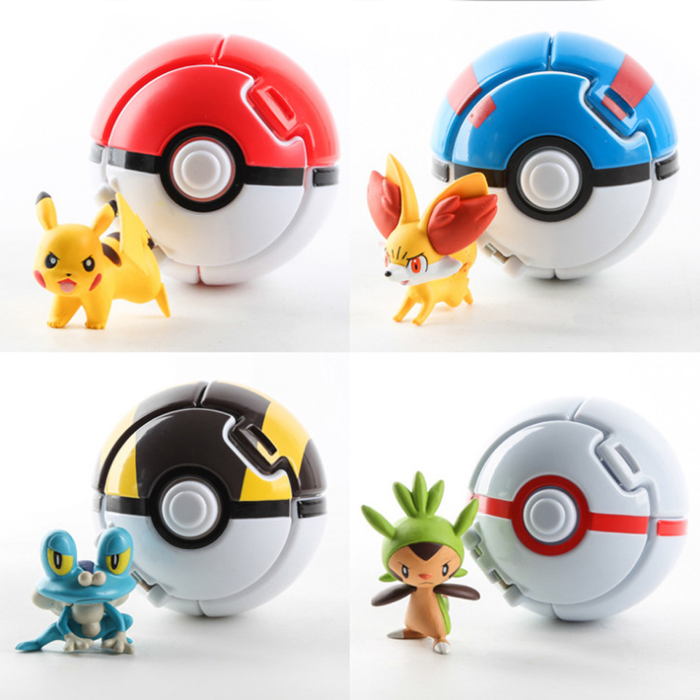 Pikachu Action Figure Cartoon Kawaii Pokemons Deformation Poke Monster With Doll Great Ball Ultra Metaballs Reversible Ball Toy
