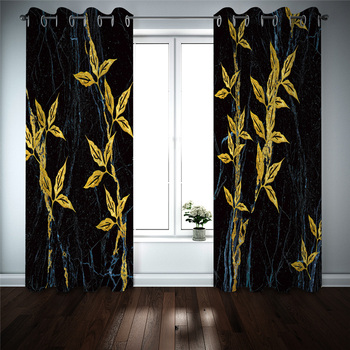 Luxury Blackout 3D Window Curtains For Living Room Bedroom Customized size Black marble effect golden flower Decoration curtains