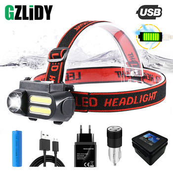 цена Super Bright LED Headlamp COB Work Light 4 Lighting Mode Waterproof Headlight Powered By 18650 Battery Suit for Night Lighting онлайн в 2017 году
