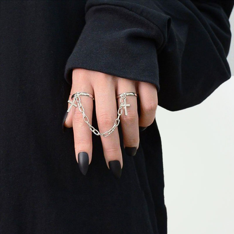 Gothic Hiphop Cross Punk Double Ring for women men Adjustable Silver Color Cross Chain Ring Set 2020 Trendy Unusual Jewelry