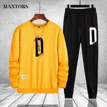 Agasalho masculino casual manga longa hoodies dos homens roupas marca duas peças moletom outwear calças masculino conjunto de roupas esportivas plus size
