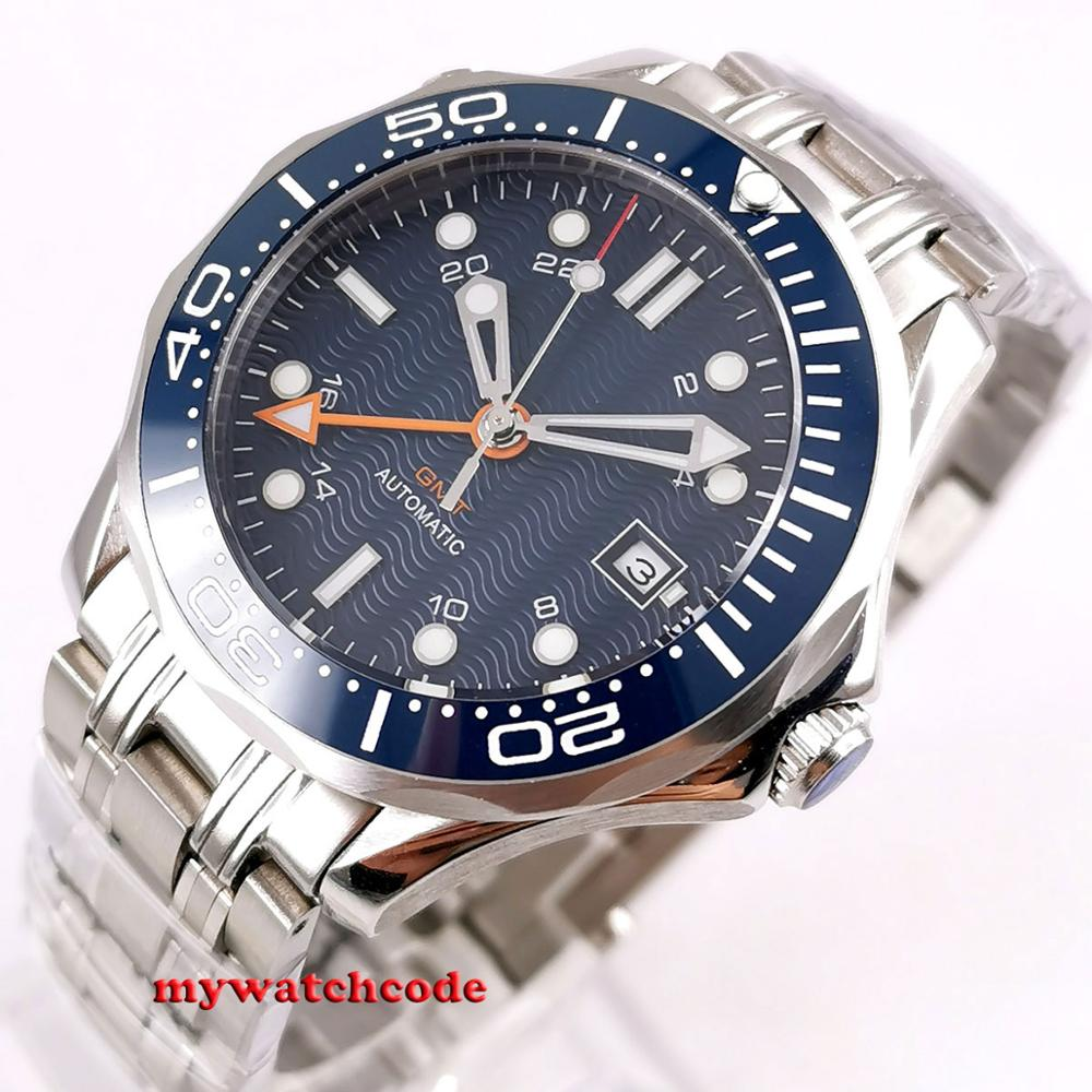 41mm Bliger Blue Sterile Dial GMT Sapphire Glass Ceramic Bezel Stainless Steel Automatic Mens Watch B296