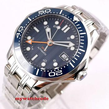 цена 41mm bliger blue sterile dial GMT Sapphire glass Ceramic bezel stainless steel automatic mens watch B296 онлайн в 2017 году