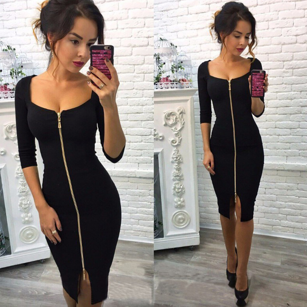 Slim Fit Ladies Zipper Dresses Square Collar Solid Color Sexy Bandage Dress Autumn Winter 2019 New Black Red Club Dress Robe D30