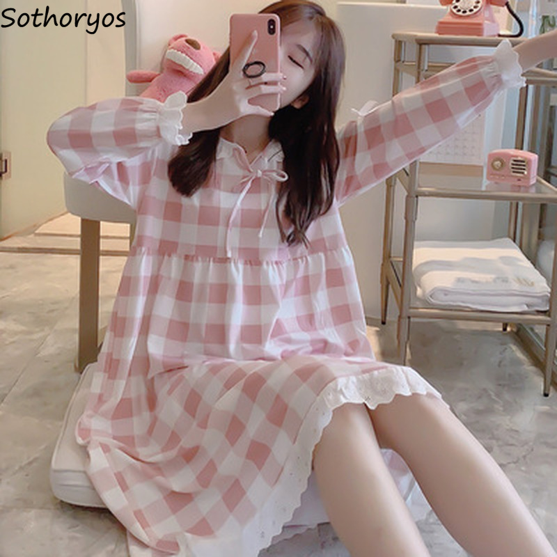 Women Nightgowns Plaid Princess Sweet O-neck Bow Plus Size 2XL Korean Style Womens Comfortable Soft High Quality Loose Ulzzang