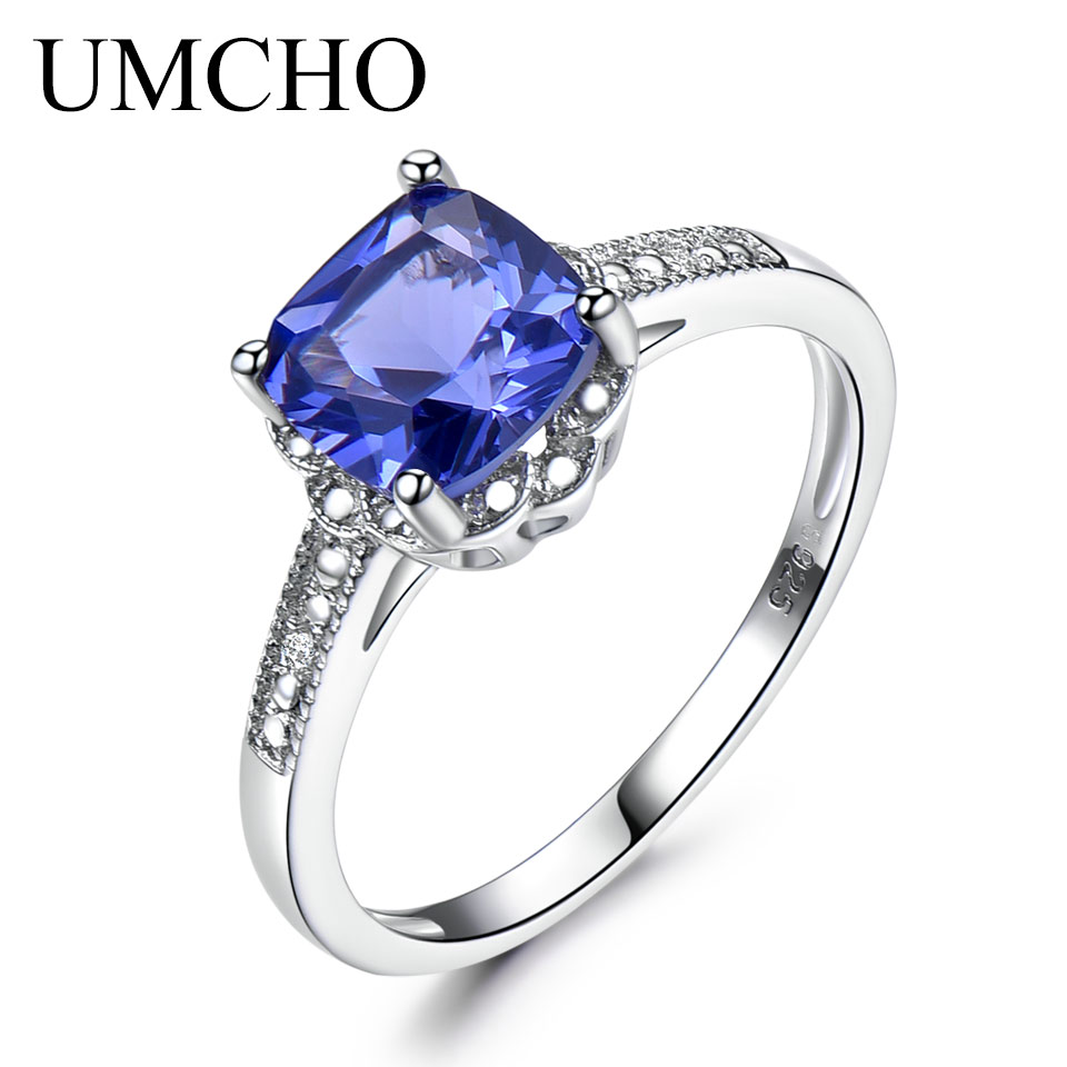 UMCHO Tanzanite Gemstone Rings For Women 925 Sterling Silver Ring Birthstone Engagement Wedding Romantic Valentines Jewelry New