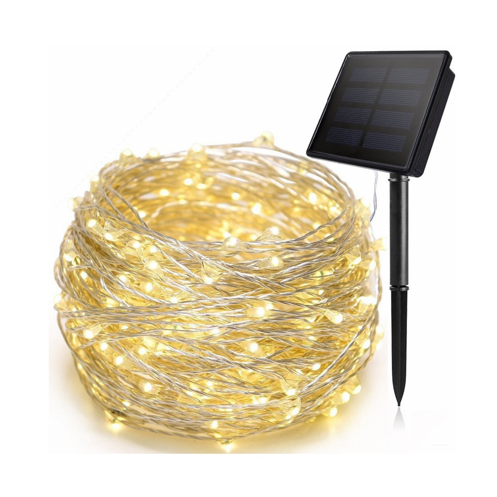 Solar Powered Starry String Lights 5M 10M 20M Sensor Copper Wire Outdoor Fairy Light For Christmas Garden Holiday Decoration