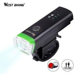 WEST BIKING велосипедный передний свет, индукционный велосипед, яркий свет, зарядка через USB, фонарик, велосипедный водонепроницаемый фонарь, вел...