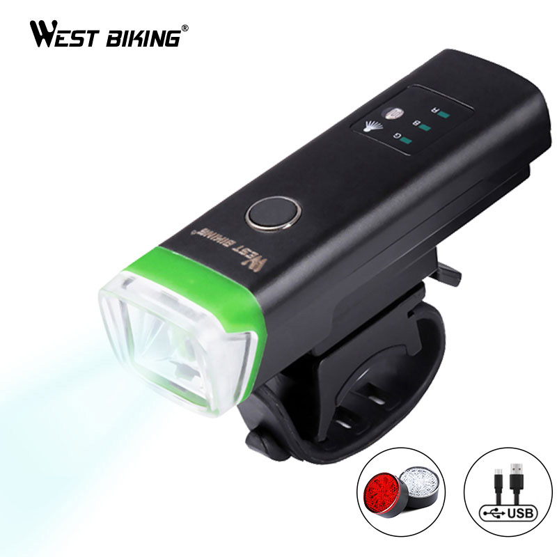 WEST BIKING Bike Front Light Induction Bicycle Bright Light USB Charging Flashlight Cycling Waterproof Torch Bike Headlight|bike headlight|flashlight cycling|bike front - title=