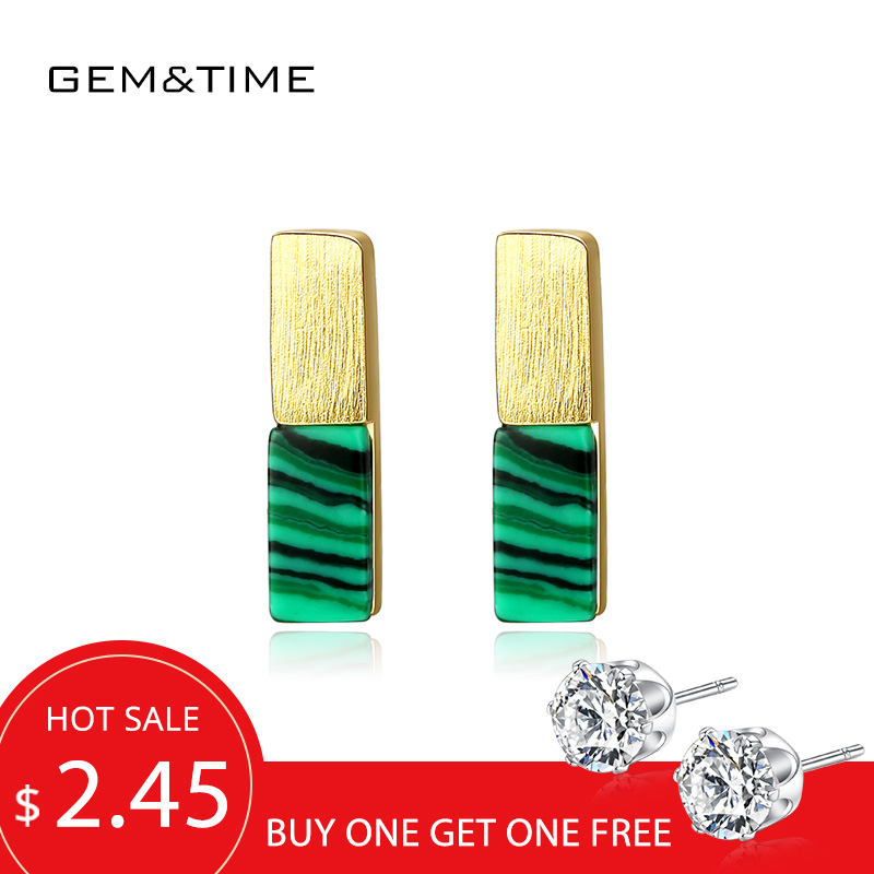 Gem&Time Created Malachite Bar Stud Earrings Sterling 925 Silver Earrings For Women Boucles D'Oreilles Pour Les Femmes SE0378