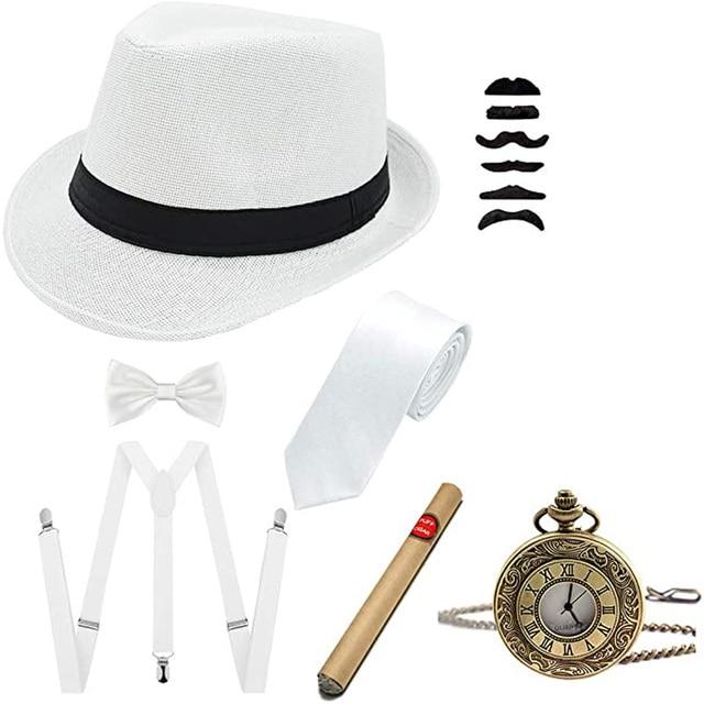 Y-Back Suspenders  Pre Tied Bow Ti 1920s Mens Accessories Hard Felt Panama Hat