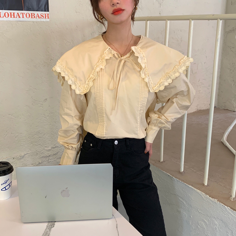 H80ecf4f3abdf421e8794a05cdc4762c97 - Spring / Autumn Lace-Up Collar Long Sleeves Loose pleated Solid Blouse