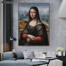 Известная картина маслом Улыбка Моны Лизы холст Постер и принты