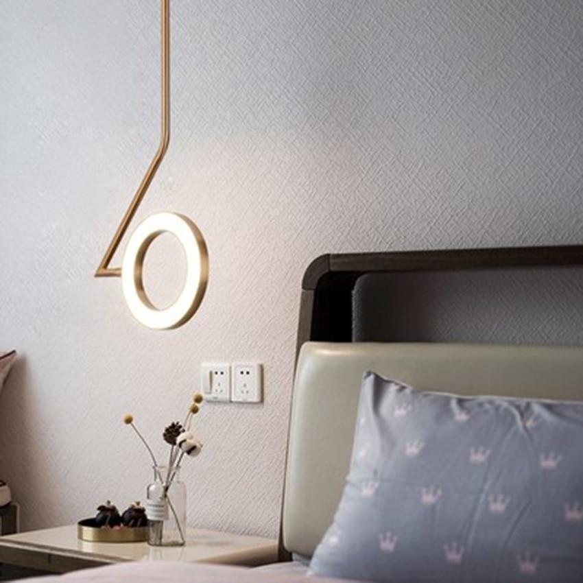 Modern Led Bedside Pendant Lights Fixture Luminaire Gold Hanging Lamps Hotel Living Bedroom Suspension Ring Lighting Luxury Deco