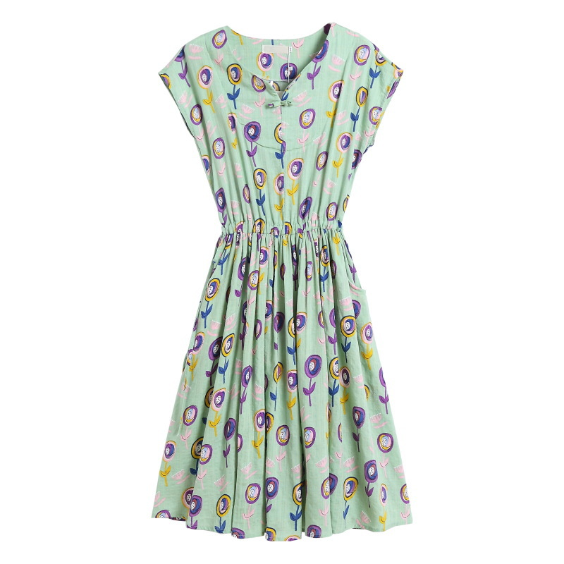 Ethnic-Style Digital Printing Loose-Fit Slimming Short Sleeve Dress 2019 Summer Wear WOMEN'S Dress New Style F6716