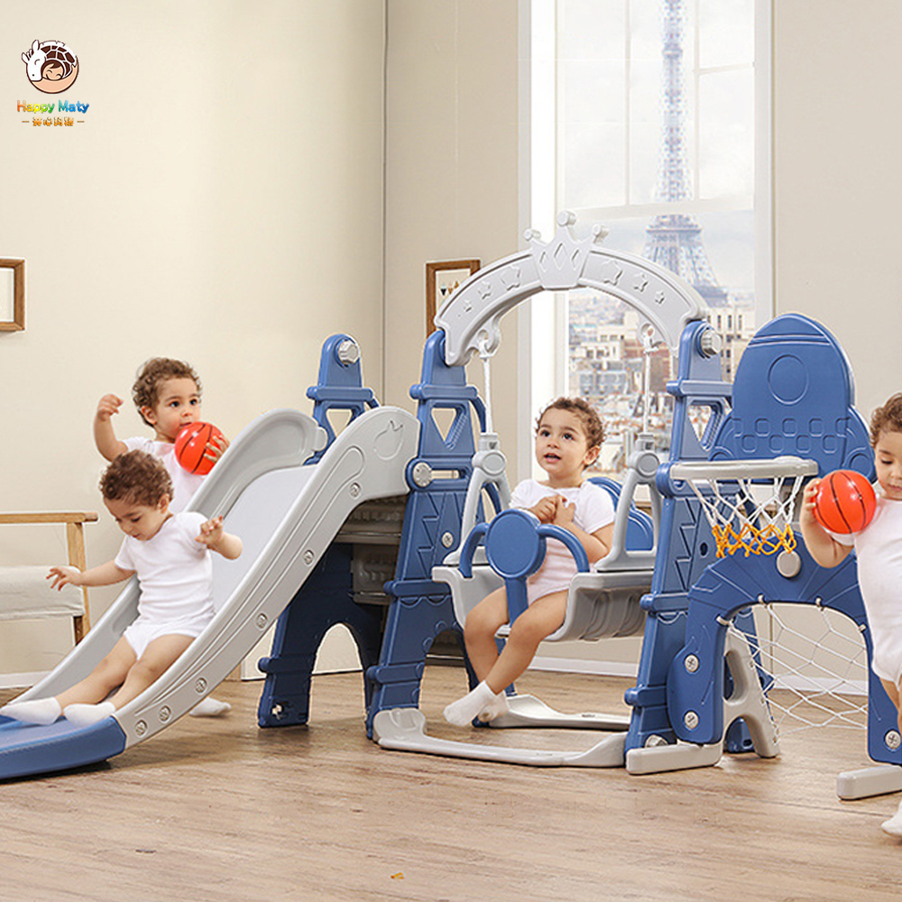 Kids Indoor Slide Swing Combination Multifunction 5 In 1 Baby Small Playground With Basketball Football Sports Toys For Children