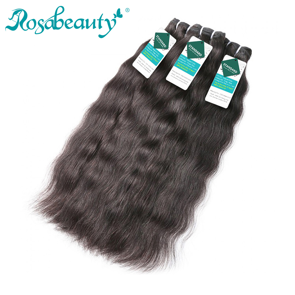 Rosabeauty Raw Indian Virgin Hair Weave Bundles Natural Straight 100% Human Hair Extension Natural Color 10-40 28 30Inch