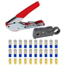 купить 1Set Coaxial Cable Crimping Tool Kit RG6 F Compression Connectors Coax Cable Crimping Pliers Rotary Wire Stripper Set дешево