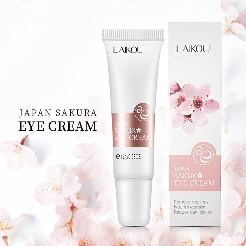 Laikou sakura extrato creme para os olhos anti rugas anti envelhecimento remover círculos escuros inchação linhas finas creme para os olhos beleza cuidados com os olhos