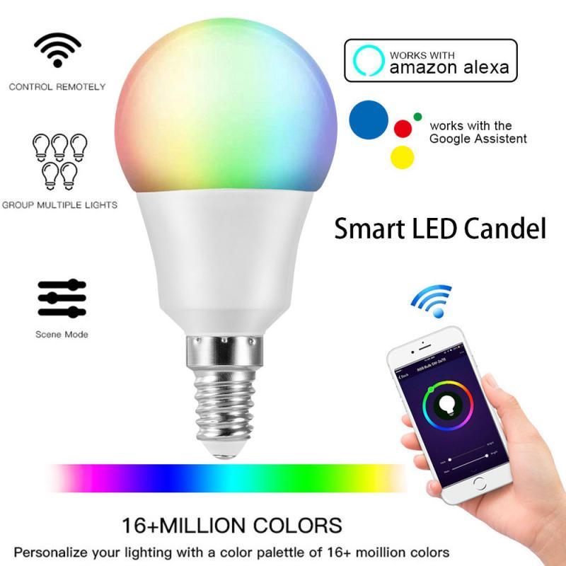 Умная лампа с Wi-Fi, светодиодная лампа Е14 RGB, работает с Alexa Google Home Tuya/умная энергосберегающая Затемняющая светодиодная лампа, умная лампа