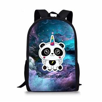 HaoYun Fashion Children's Backpack Panda Unicorn Pattern Students School Bags Cartoon Animal Book-Bag Mochila Women's Travel Bag colorful unicorn students backpack cartoon panda children school bags backpack for teenager girls book bag women laptop backpack