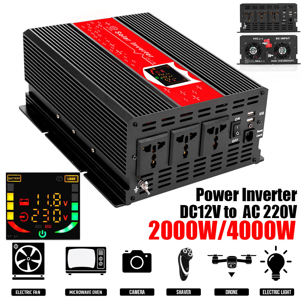 Spannungswandler 2000W LED-Display Power <font><b>Inverter</b></font> Transformator KFZ <font><b>Wechselrichter</b></font> Anti-Reverse-Schutz image