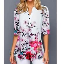 S-5XL blusa camisa feminina plus size meia manga das senhoras camisetas estampa floral solto casual tops feminino roupas de outono irregular