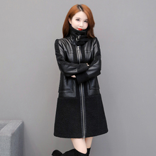 Jacket Faux-Leather Women Trench-Coats Suede Thicken Sheepskon Long Ladies New Warm Black