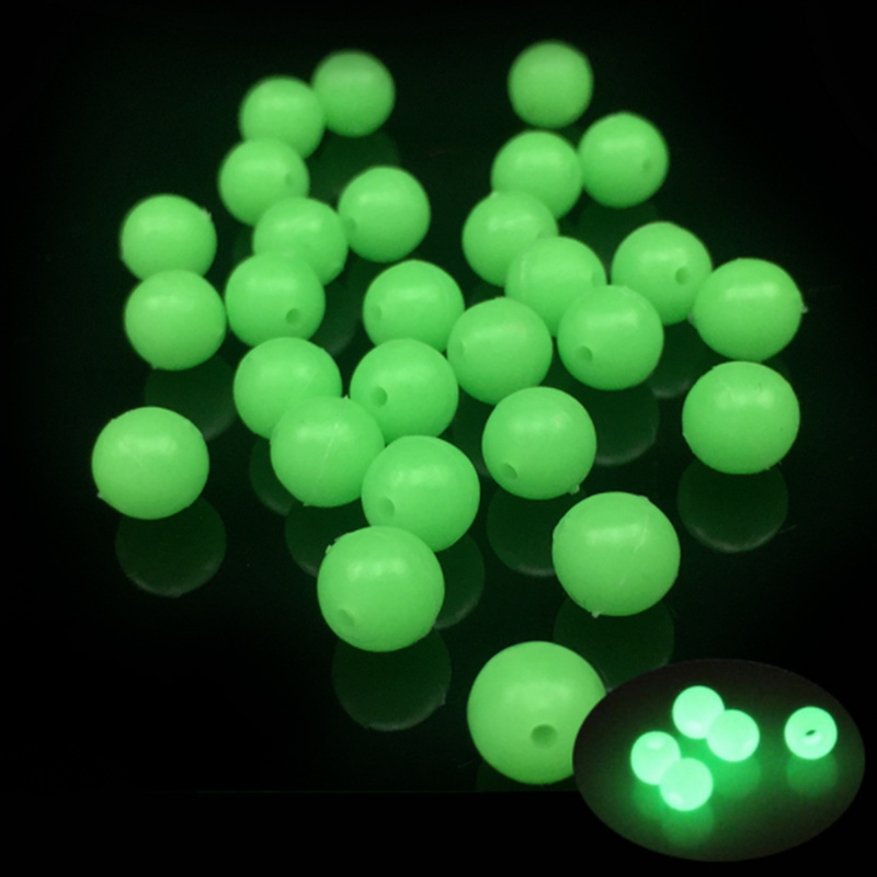 Luminous Fishing Beads 10pcs/lot Soft Rubber Floating Fluorescent Green Fishing Beads Diameter 6mm/8mm
