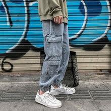 Шнурок прямые джинсы мужская мода ретро мульти-карман Оснастки брюки мужчины свободные хип-хоп уличной брюки м-5XL