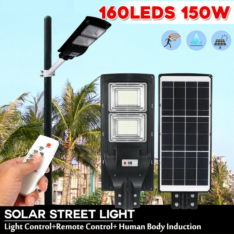 150W LED Solar Wall Lamp 160Leds Light+Radar Sensing+Remote Control Solar Light Waterproof for Home Garden Fence Outdoor Plaza