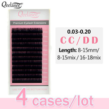 Qeelasee 4 tace CC/DD curl faux mink pojedyncze rzęsy maquiagem cilios makijaż miękkie rzęsy z norek do przedłużania rzęs