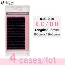 Qeelasee 4 trays CC/DD curl faux mink individuelle wimpern maquiagem cilios make up weichen nerz wimpern für wimpern verlängerung