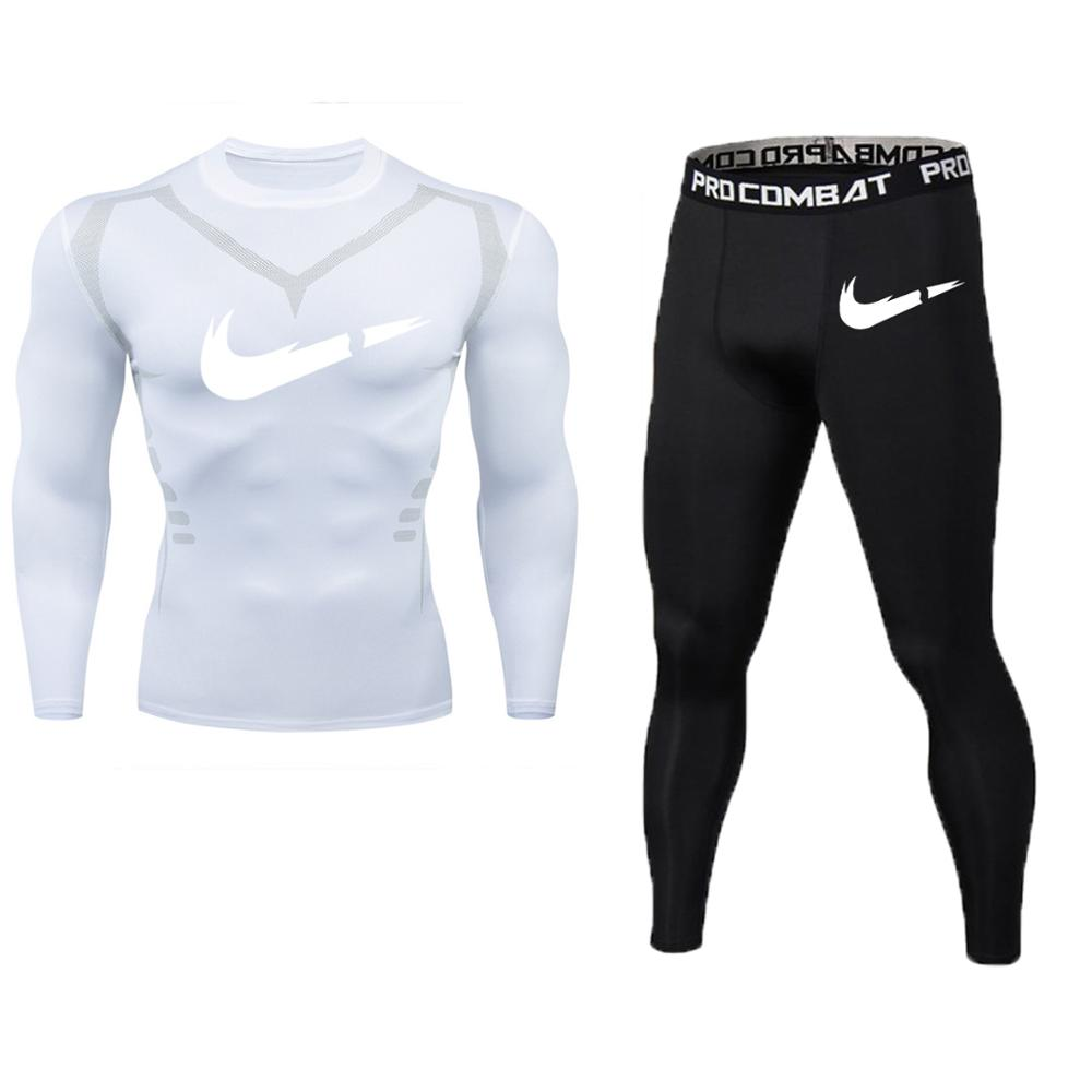 Men Running Sport Compression T Shirt Pants Suits Jogging Tracksuit Sets Male Gym Fitness Training Sportswear Tees Tops Leggings