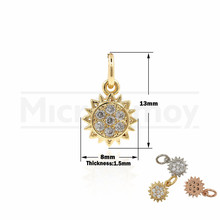 Sunflower Necklace CZ Mini Pendant Sunshine Charm Friendship Gift DIY Jewelry Accessories 13x8x1.5MM