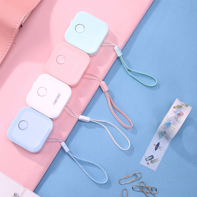 Preciosa regla de Color caramelo, caja de cinta métrica de macarrón, diseño de moda portátil, reglas de papelería para escuela y oficina