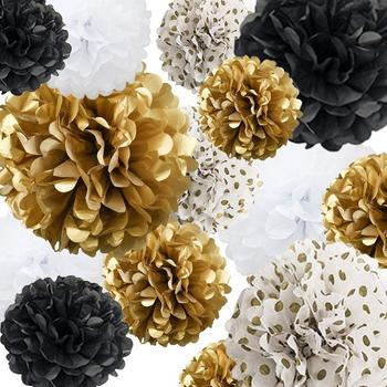 DIY Tissue Paper Pom Poms Flowers for Wedding Birthday Party Baby Shower Decoration Handmade Gold White Haning Paper Ball Decor image